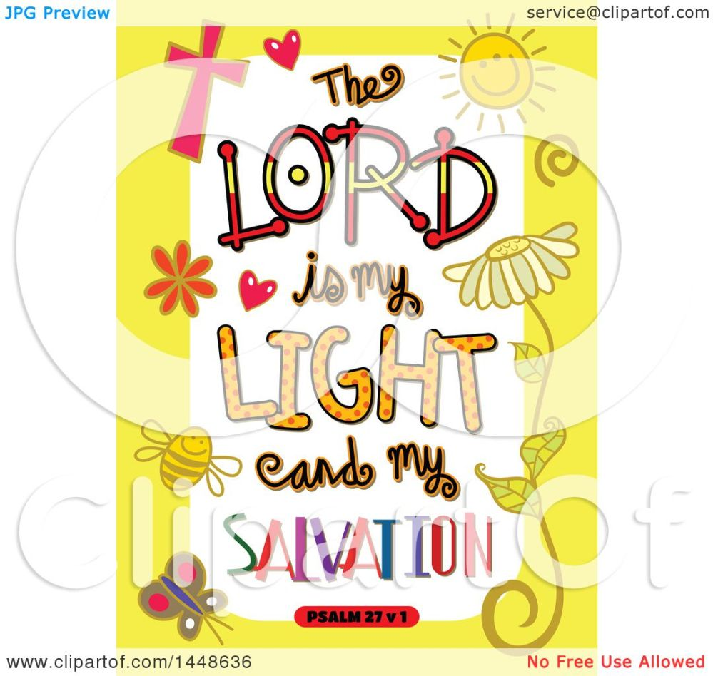 medium resolution of clipart of colorful sketched scripture the lord is my light and my salvation text in a