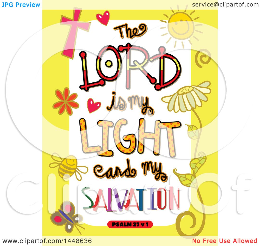 hight resolution of clipart of colorful sketched scripture the lord is my light and my salvation text in a