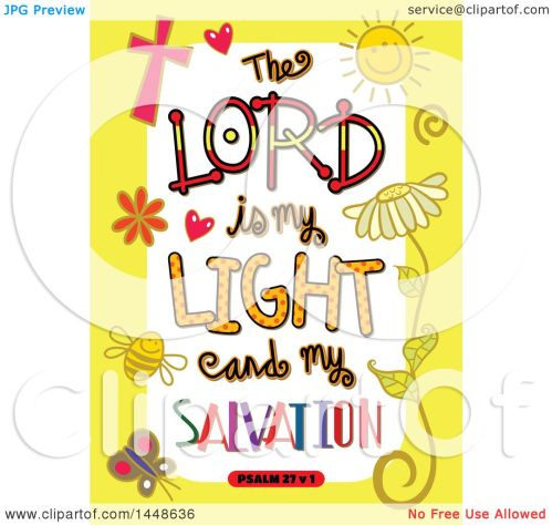 small resolution of clipart of colorful sketched scripture the lord is my light and my salvation text in a