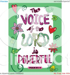 clipart of colorful sketched scripture the voice of the lord is powerful text in a green [ 1080 x 1024 Pixel ]