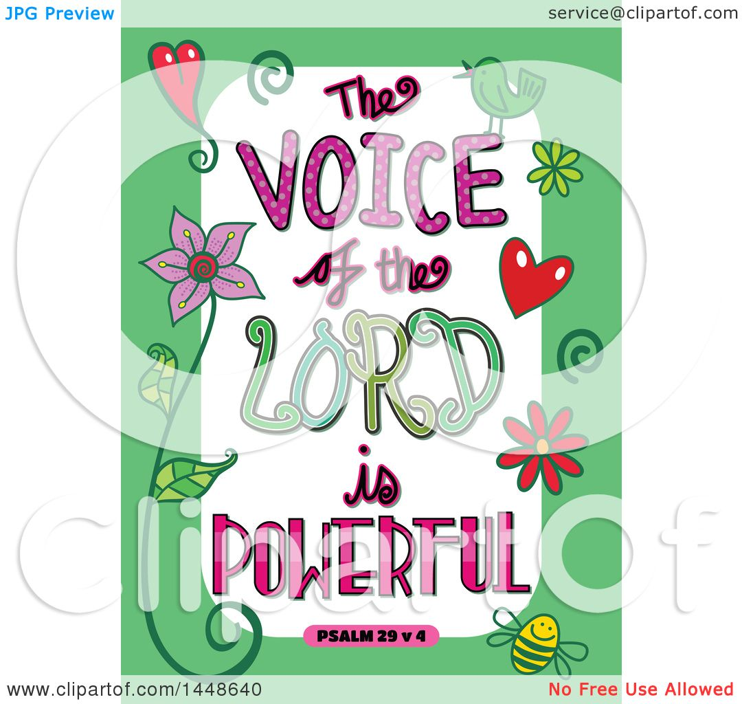 hight resolution of clipart of colorful sketched scripture the voice of the lord is powerful text in a green