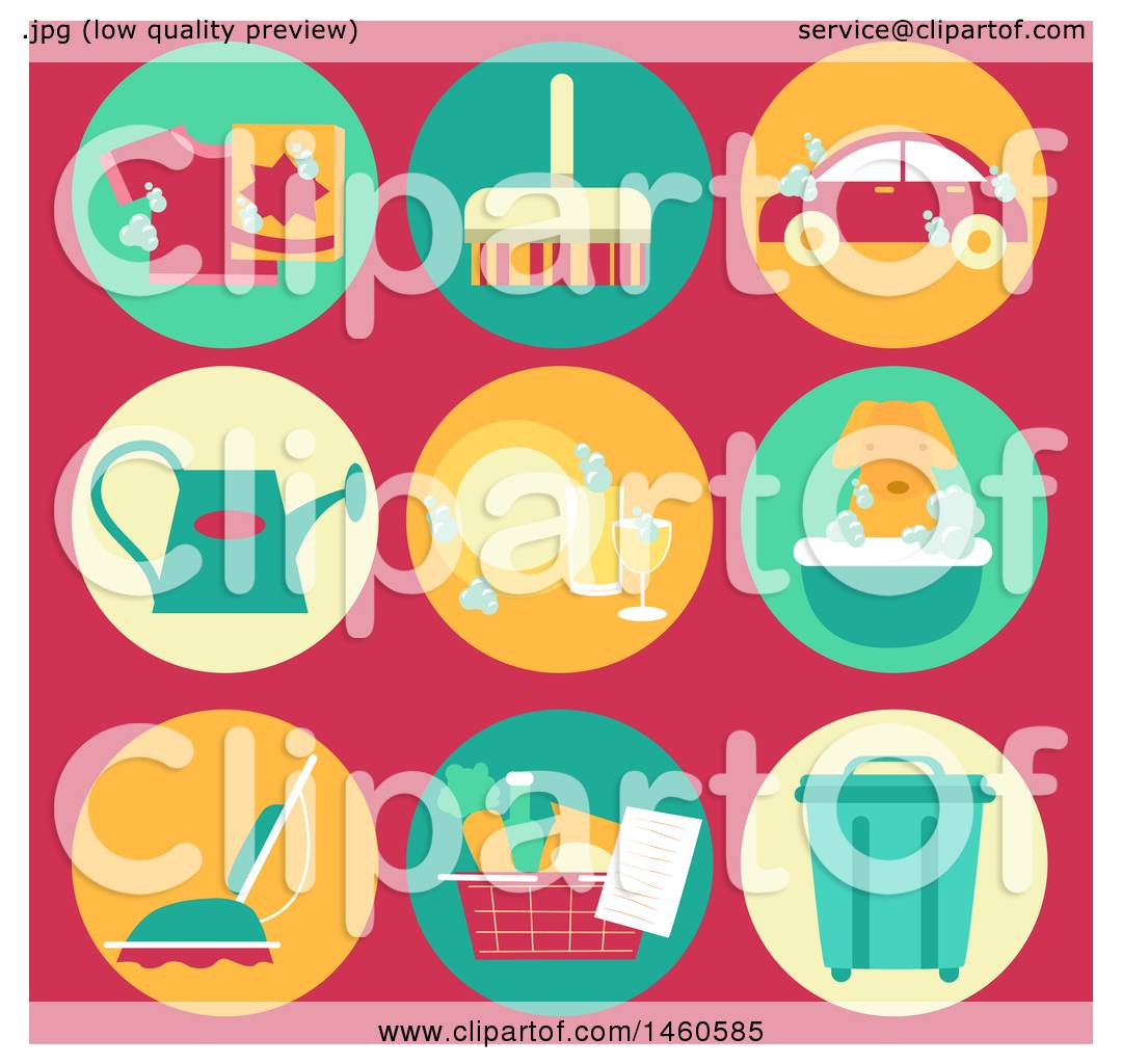 hight resolution of clipart of common household chore icons like laundry sweeping car wash watering plants