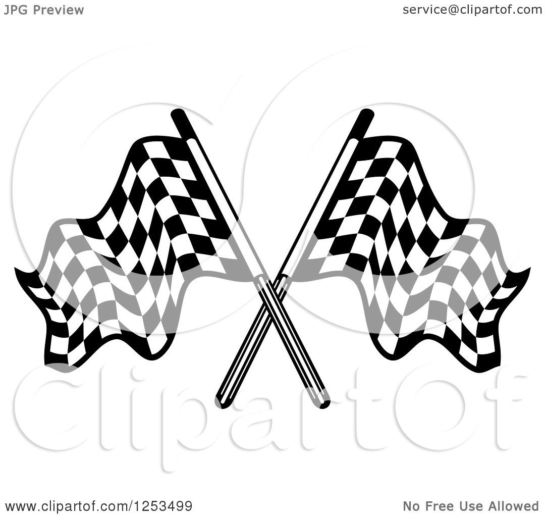 Clipart Of Crossed Black And White Checkered Racing Flags