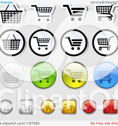 clipart of different styled shopping cart website icons royalty free vector illustration by dero [ 1080 x 1024 Pixel ]