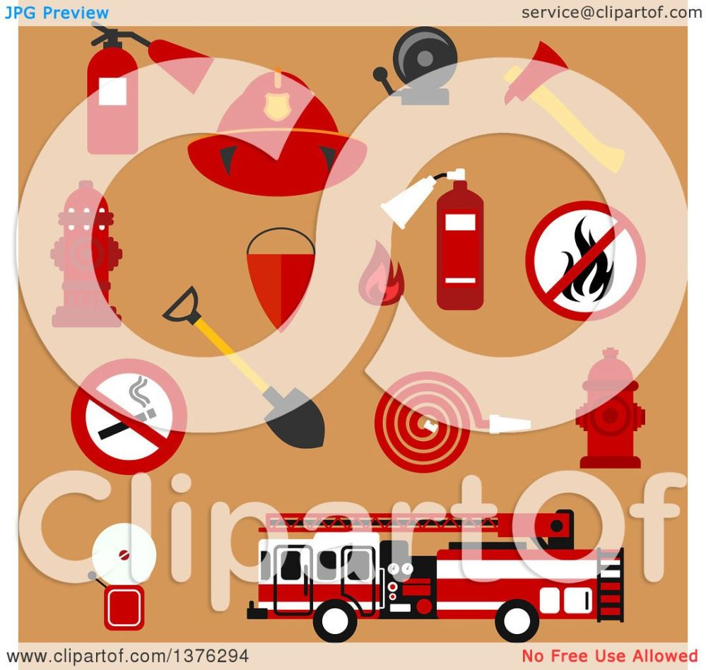 medium resolution of clipart of flat fire department designs on tan royalty free vector illustration by vector tradition sm
