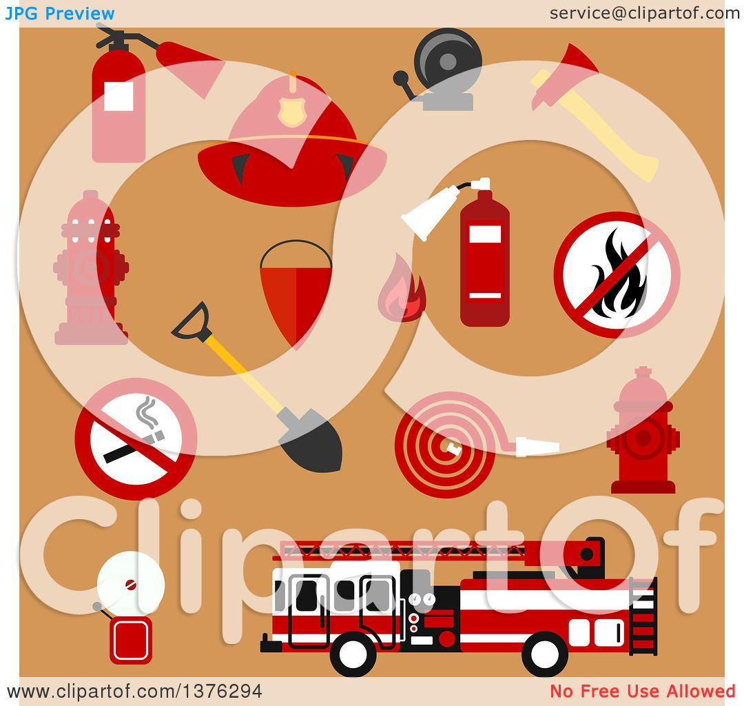 hight resolution of clipart of flat fire department designs on tan royalty free vector illustration by vector tradition sm