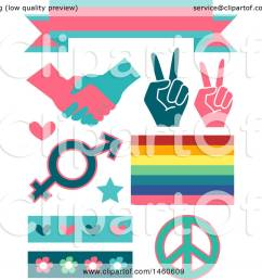 clipart of gender equality signs and elements like a ribbon handshake peace sign  [ 1080 x 1024 Pixel ]