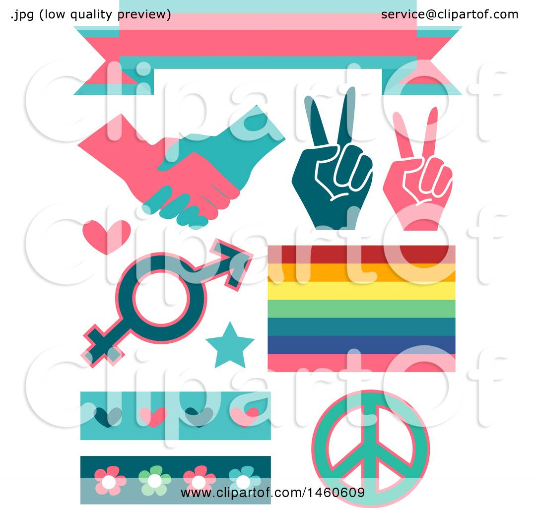 hight resolution of clipart of gender equality signs and elements like a ribbon handshake peace sign