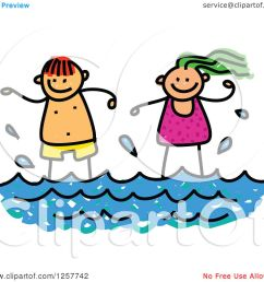 clipart of happy white stick children standing in the surf royalty free vector illustration by [ 1080 x 1024 Pixel ]