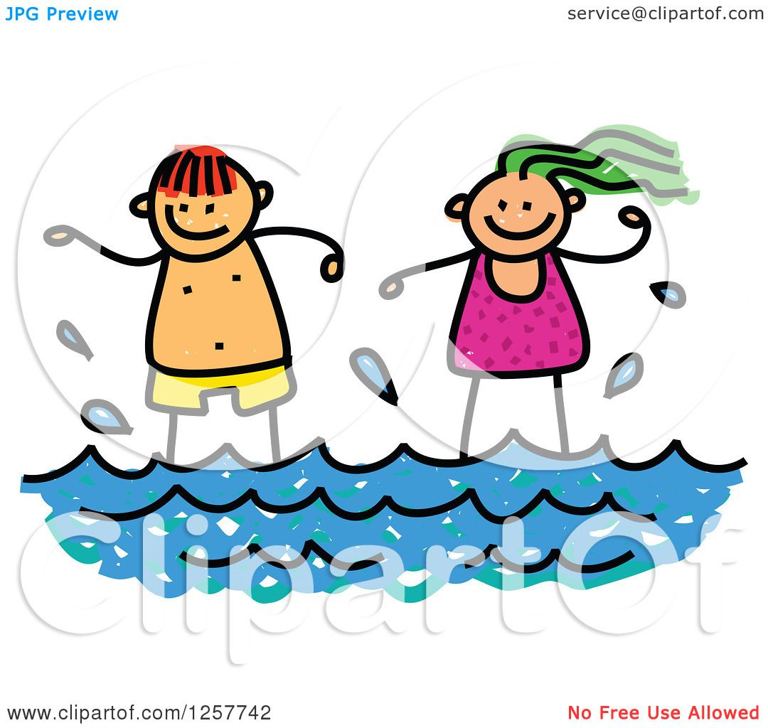 hight resolution of clipart of happy white stick children standing in the surf royalty free vector illustration by