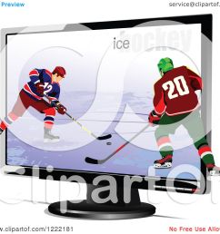 clipart of hockey players emerging through a tv royalty free vector illustration by leonid [ 1080 x 1024 Pixel ]