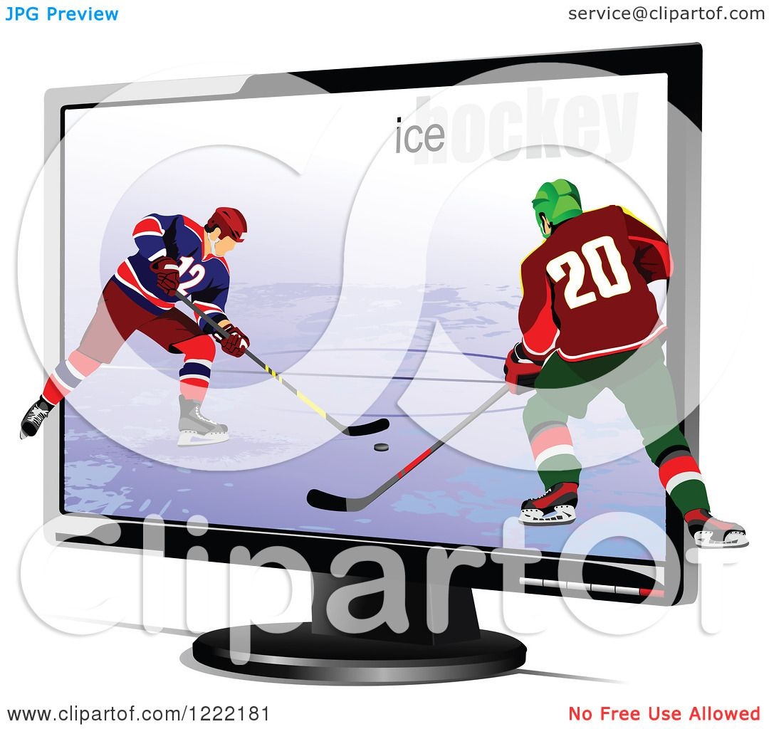 hight resolution of clipart of hockey players emerging through a tv royalty free vector illustration by leonid