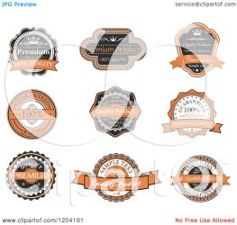 orange clipart labels illustration guarantee quality vector royalty tradition sm seamartini