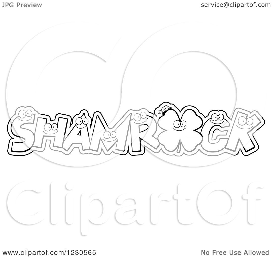 Clipart Of Outlined Leatters Forming The Word Shamrock