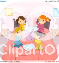 clipart of playful girls in the middle of a pillow fight at a slumber party royalty [ 1080 x 1024 Pixel ]