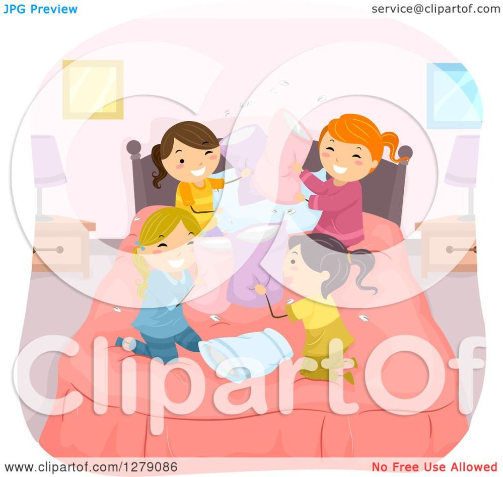medium resolution of clipart of playful girls in the middle of a pillow fight at a slumber party royalty