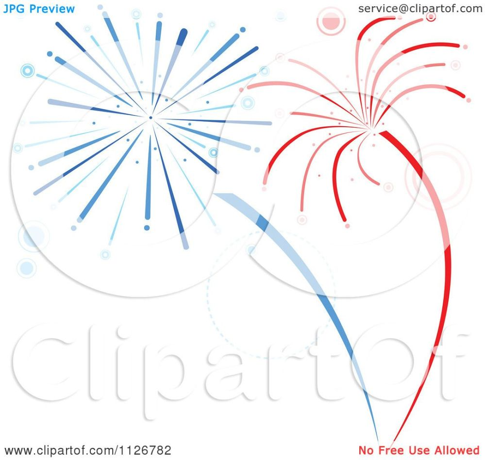 medium resolution of clipart of red and blue firework bursts royalty free vector illustration by dero