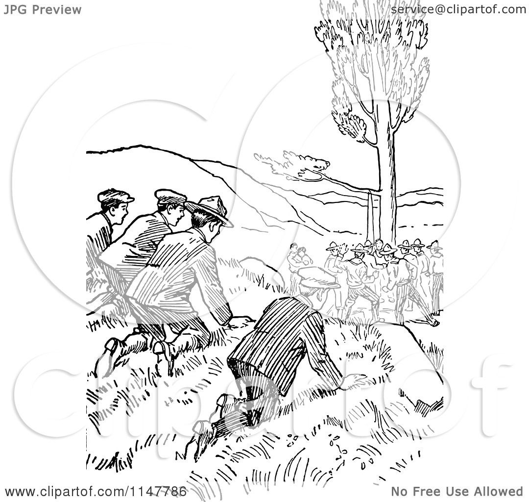 Clipart Of Retro Vintage Black And White Boy Scouts