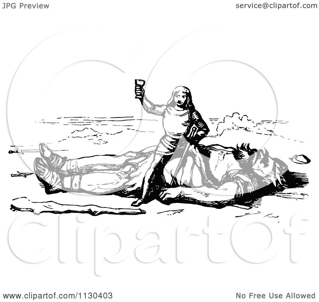 Clipart Of Retro Vintage Black And White Jack The Giant