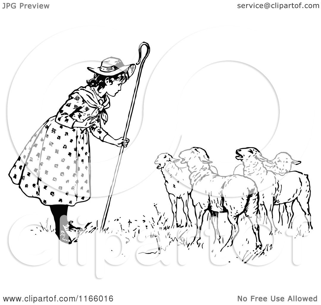 hight resolution of clipart of retro vintage black and white little bo peep talking to her sheep royalty