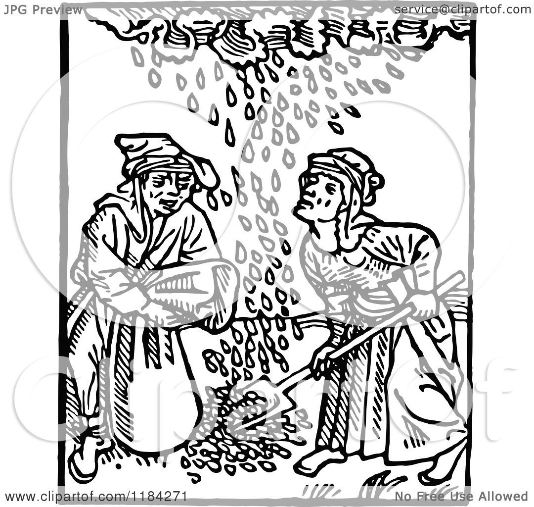 Clipart of Retro Vintage Black and White Medieval Peasants