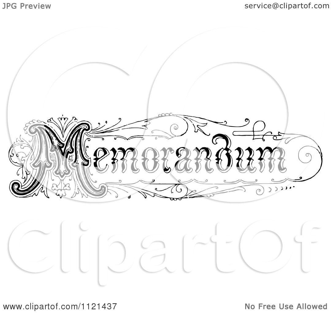 Clipart Of Retro Vintage Black And White Memorandum Text 1