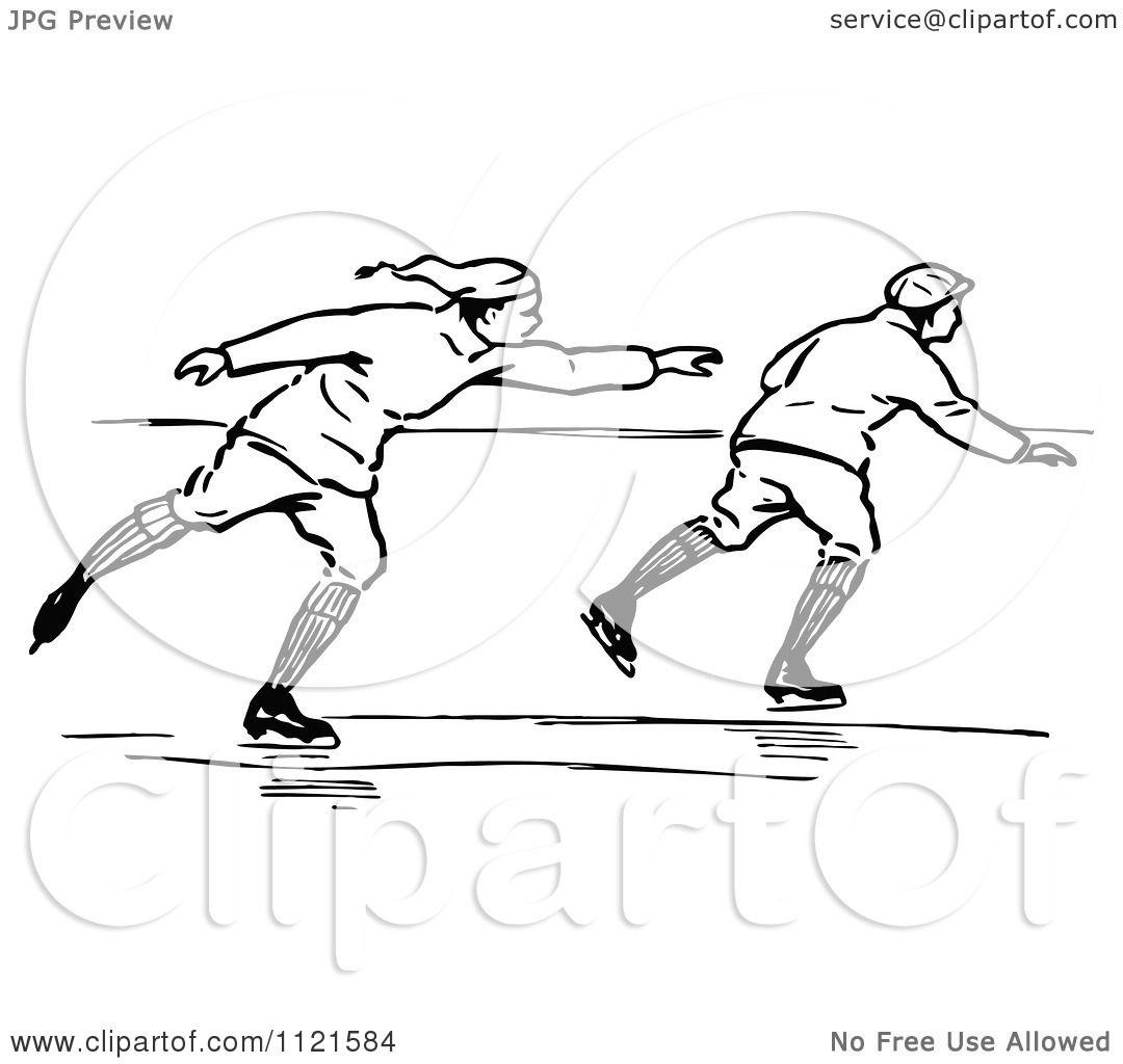 Clipart Of Retro Vintage Black And White Men Ice Skating