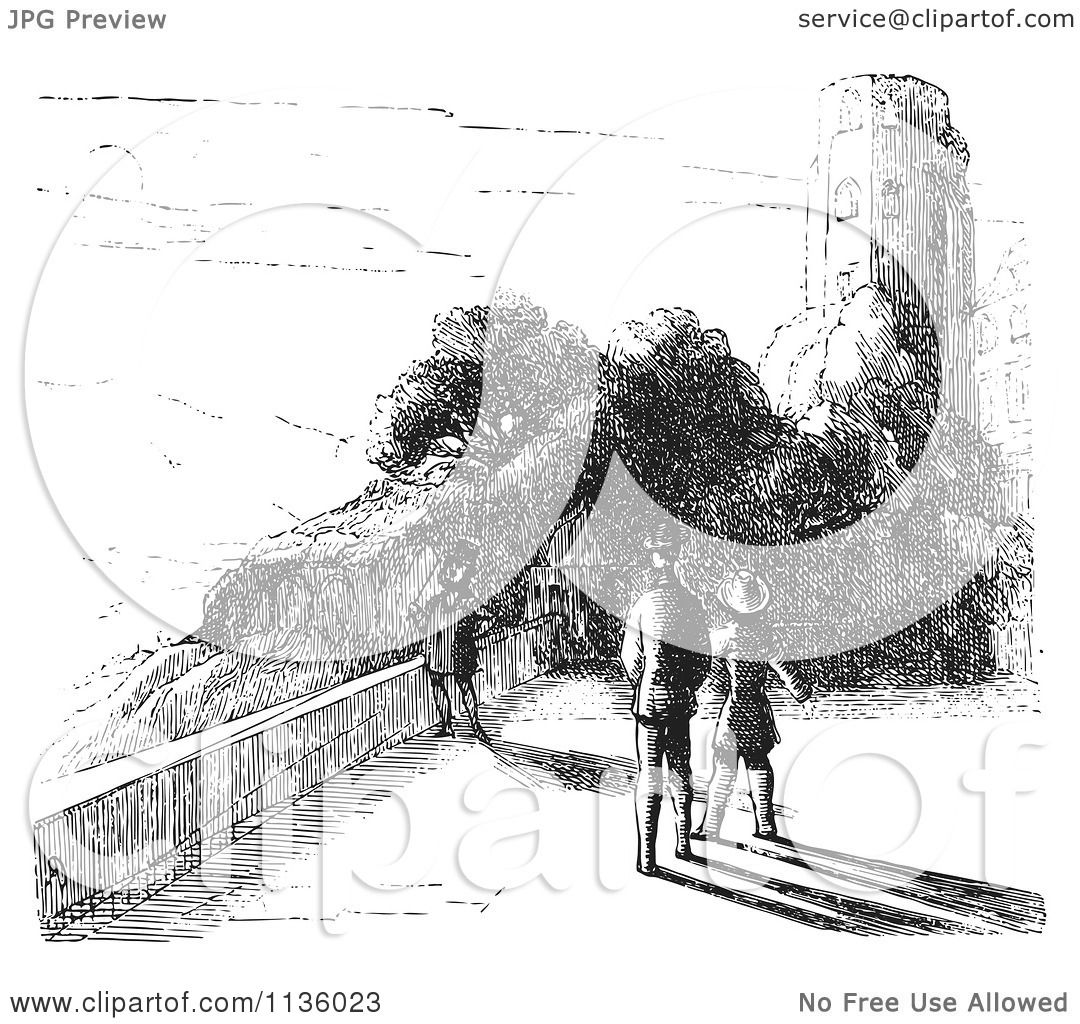 Ruins Black and White Clip Art