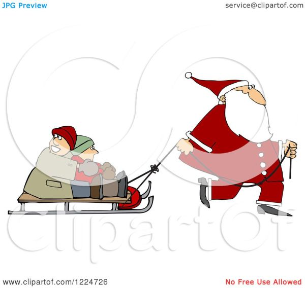 Clipart Of Santa Pulling Kids Sled - Royalty Free