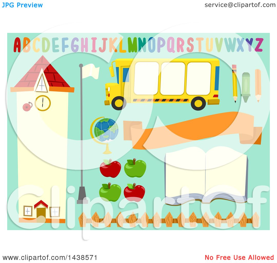 hight resolution of clipart of school bulletin board design elements on blue royalty free vector illustration by
