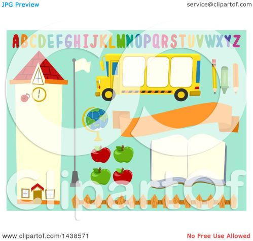 small resolution of clipart of school bulletin board design elements on blue royalty free vector illustration by