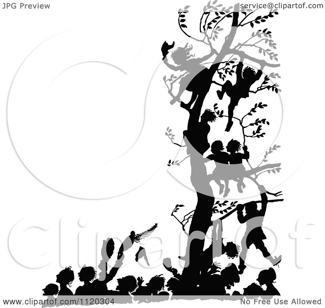Clipart Of Silhouetted Children In A Tree Above People