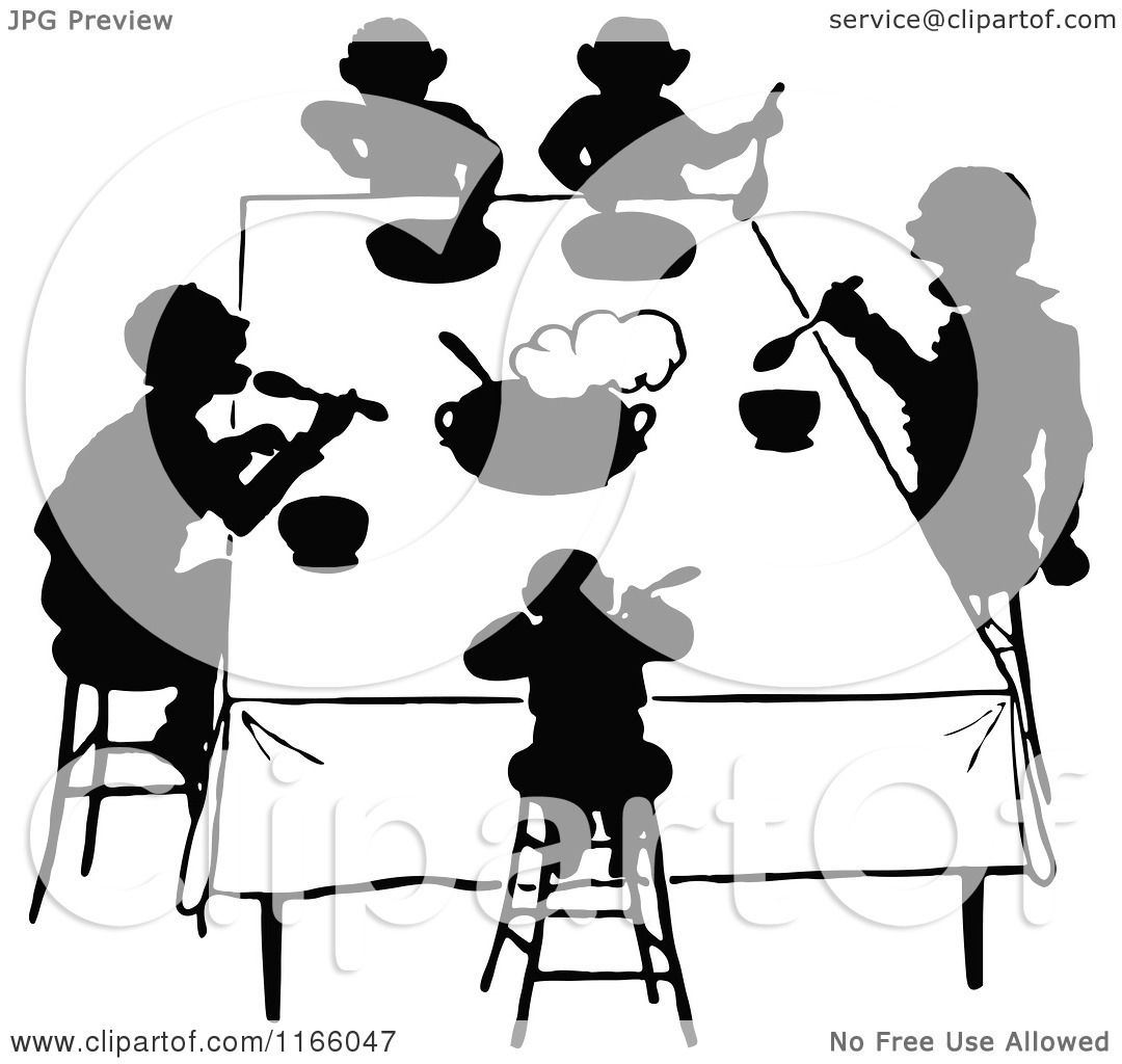 Clipart Of Silhouetted People Eating At A Table