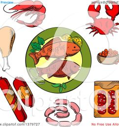 clipart of sketched seafood and meat royalty free vector illustration by vector tradition sm [ 1080 x 1024 Pixel ]