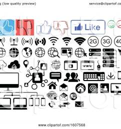 clipart of social media computer and website icons royalty free vector illustration by dero [ 1080 x 1024 Pixel ]
