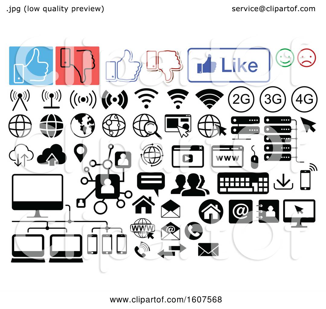 hight resolution of clipart of social media computer and website icons royalty free vector illustration by dero