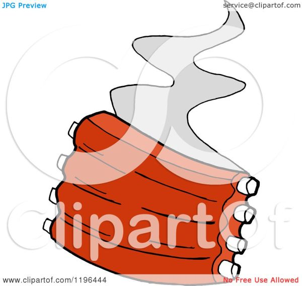 Clipart Of Steam Rising Spare Ribs - Royalty Free