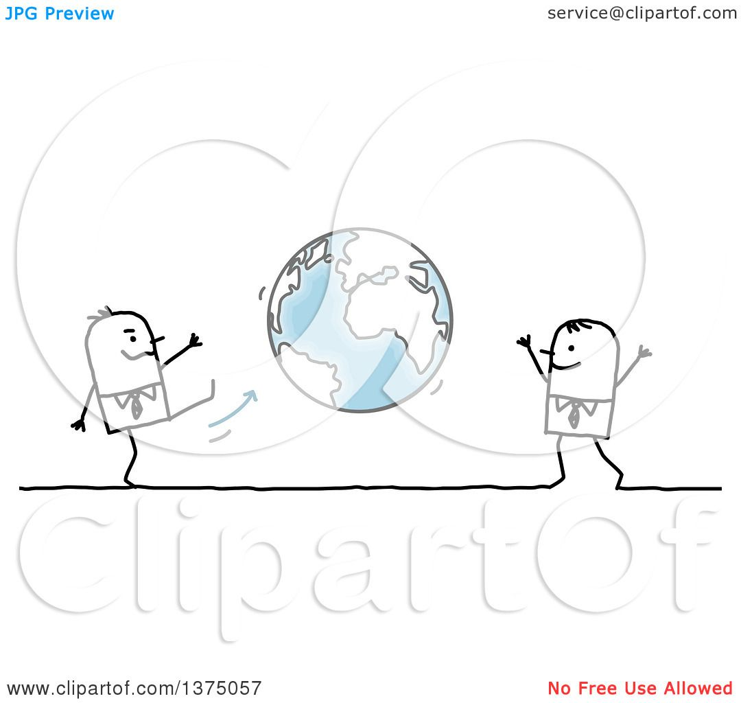 Clipart Of Stick Business Men Playing Kick Ball With