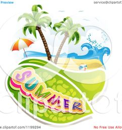 clipart of summer text over a tropical beach with a ball and umbrella royalty free [ 1080 x 1024 Pixel ]