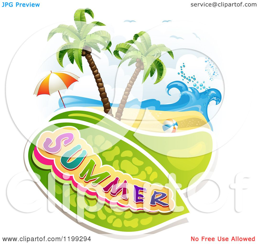 hight resolution of clipart of summer text over a tropical beach with a ball and umbrella royalty free
