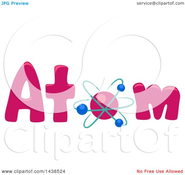 Clipart Of Word Atom With Atomic Model Replacing Letter - Royalty Free Vector