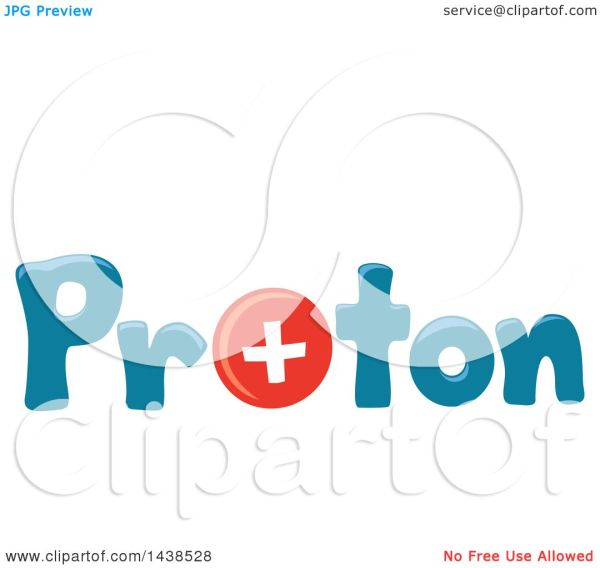 Clipart Of Word Proton With Positively Charged