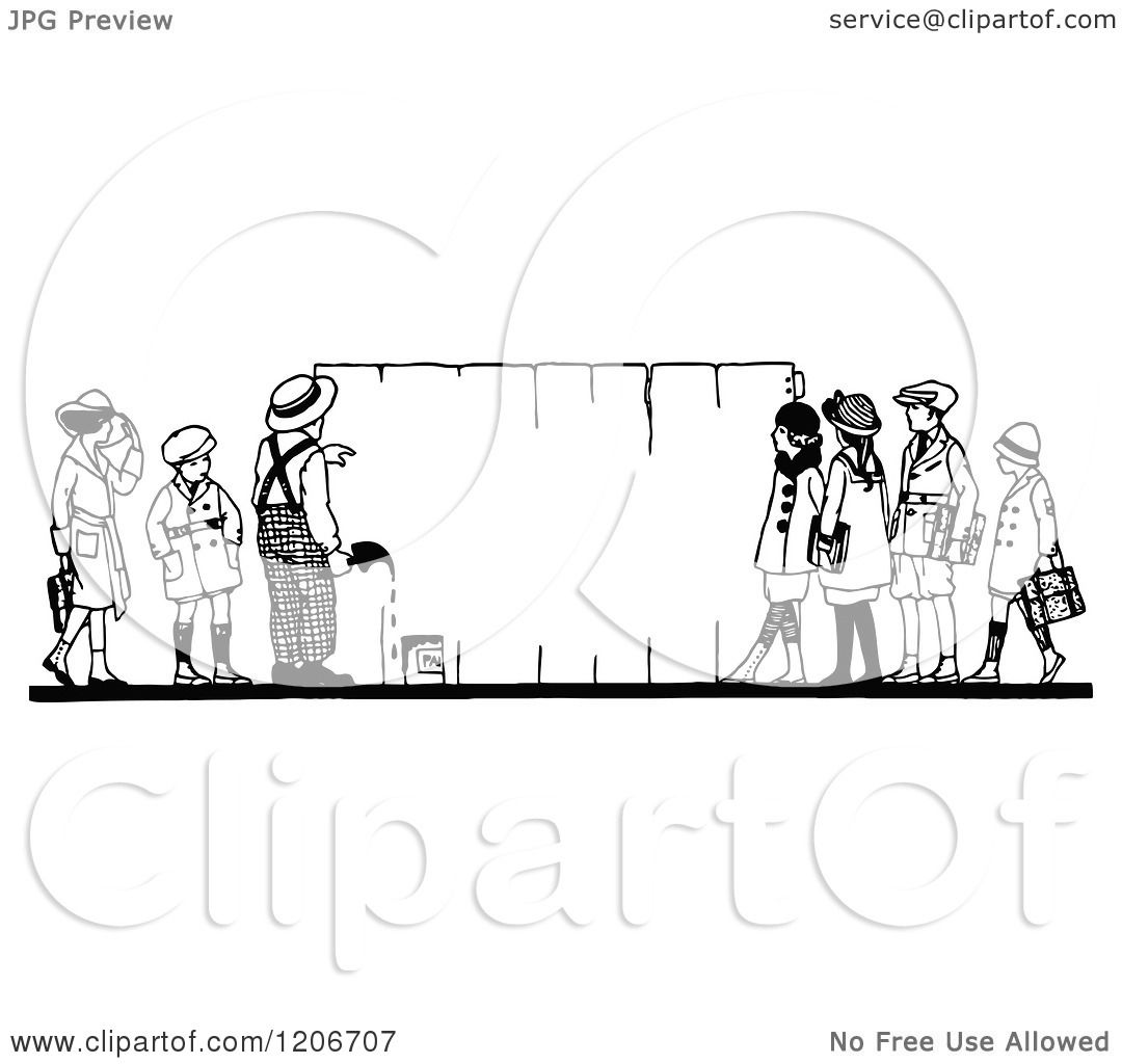 Clipart Of Vintage Black And White Children Painting A Fence