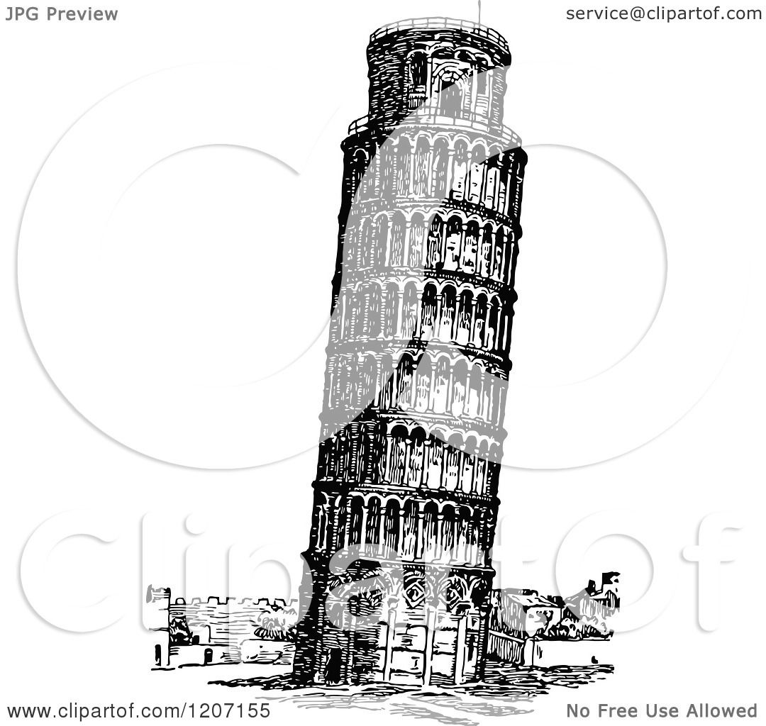 Clipart Of Vintage Black And White Leaning Tower Of Pisa