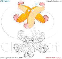starfish orange bubbles clipart royalty illustration bannykh alex