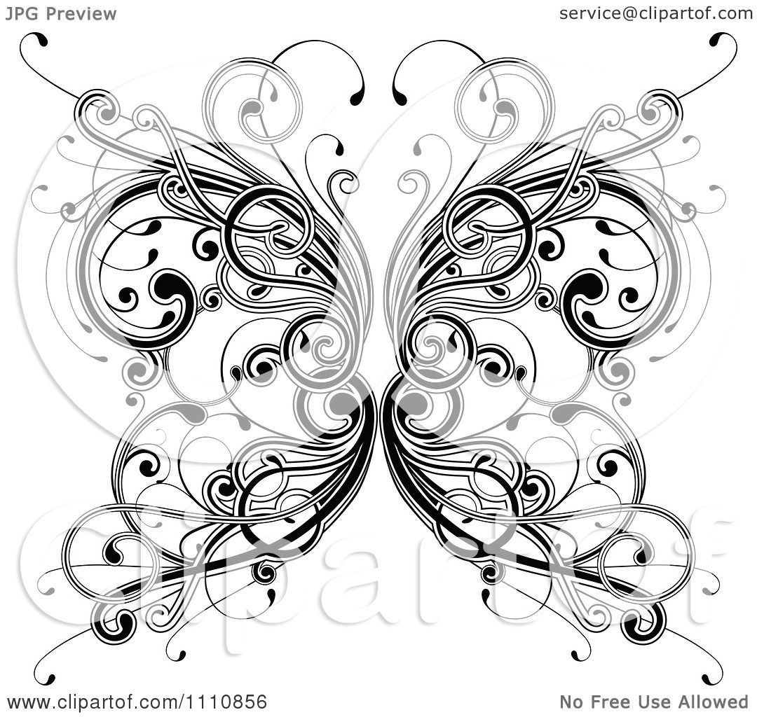 Clipart Ornate Black And White Floral Butterfly
