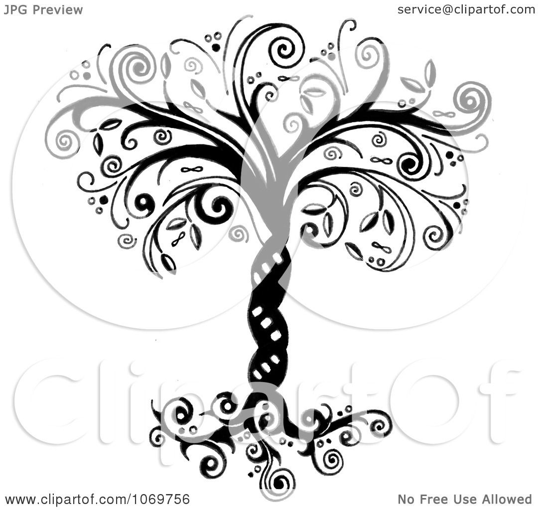 Clipart Ornate Whimsical Tree Of Life In Black And White