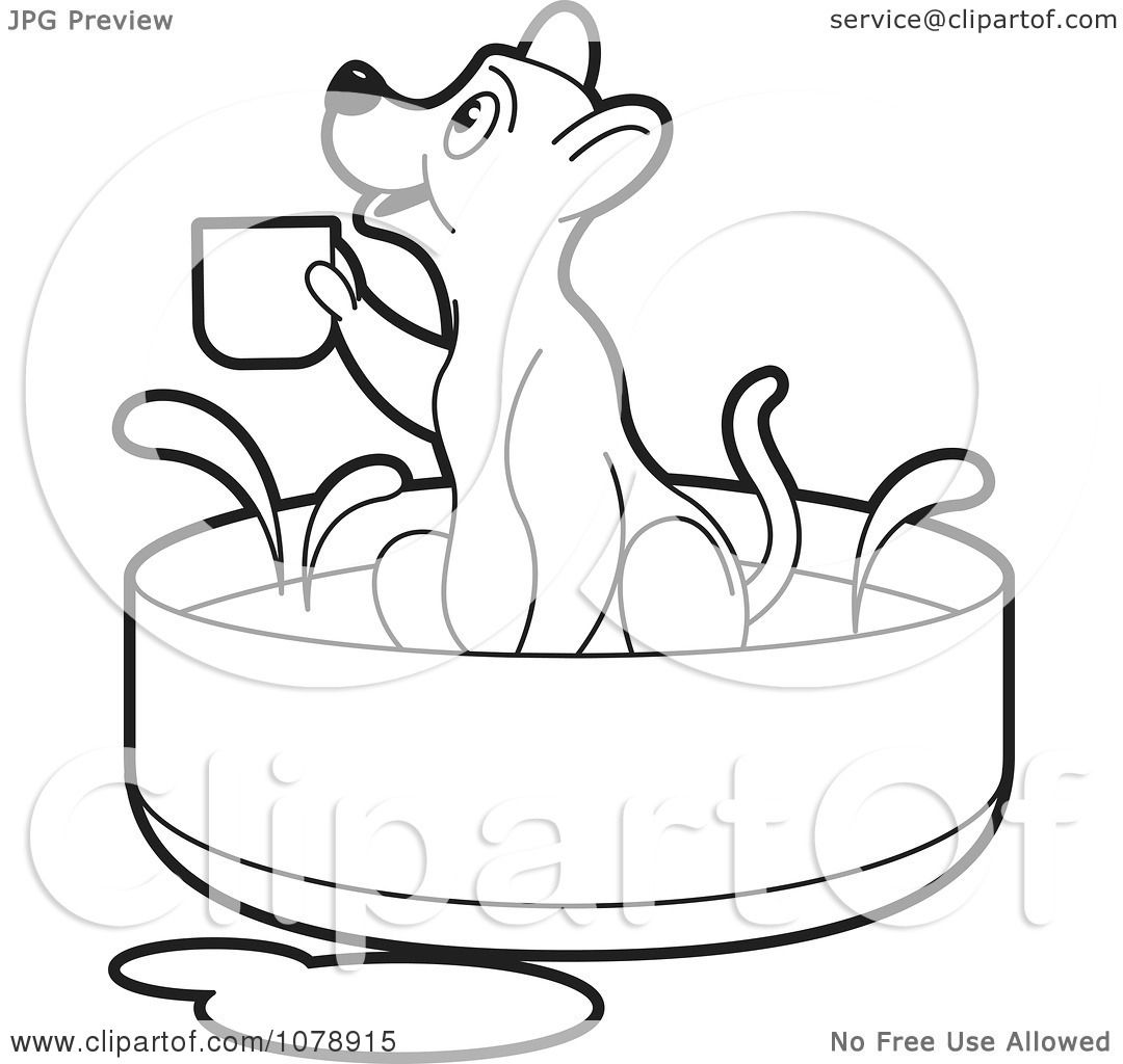 Clipart Outline Dog Holding A Cup In A Bath