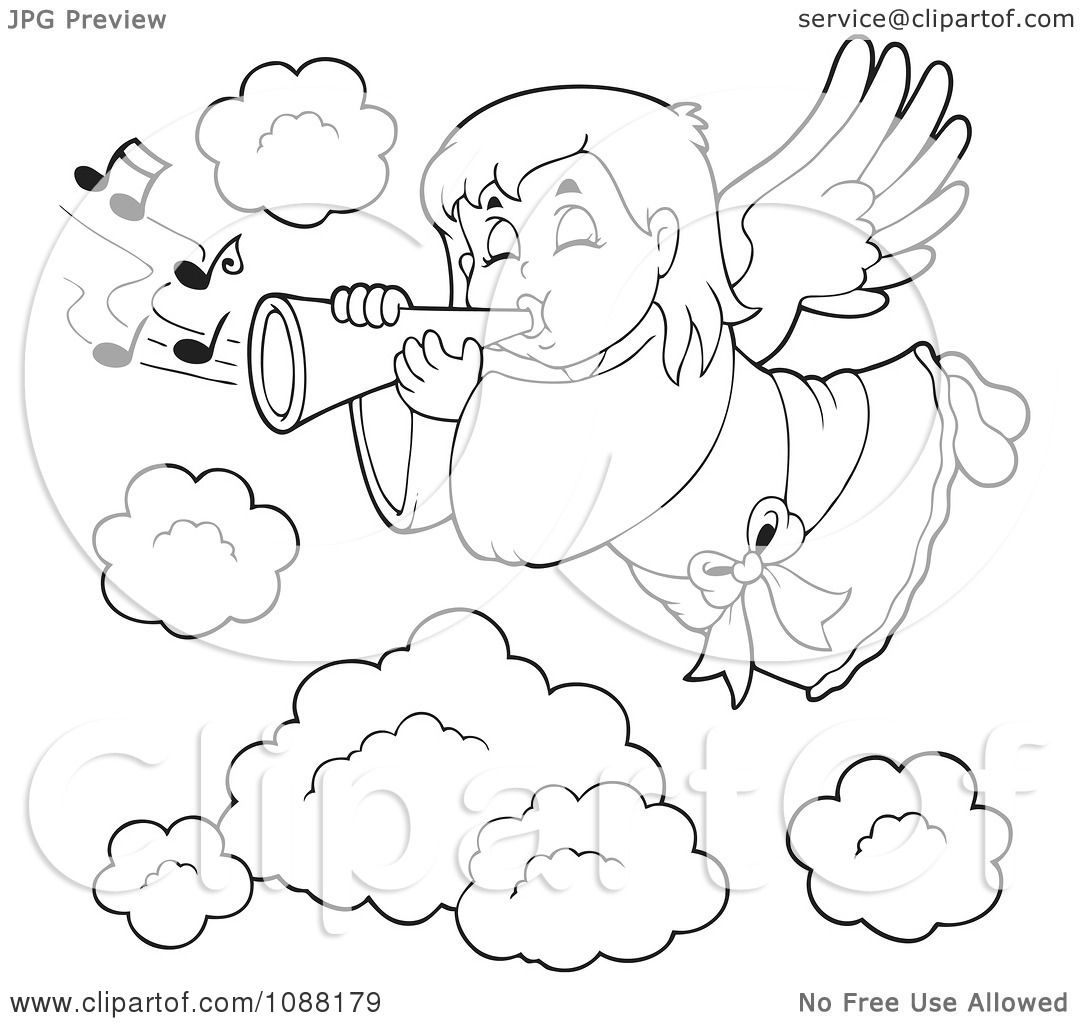 Clipart Outlined Angel Girl Playing A Trumpet In Heaven