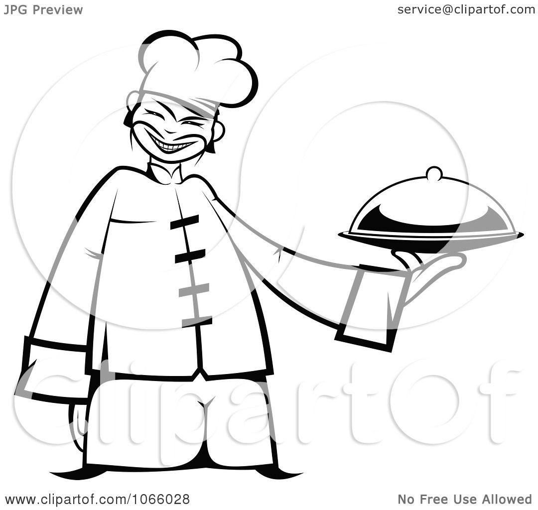 Clipart Outlined Asian Chef Holding A Platter